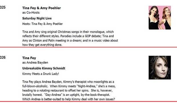 Emmy Ballot 2016, Tina Fey, Amy Poehler