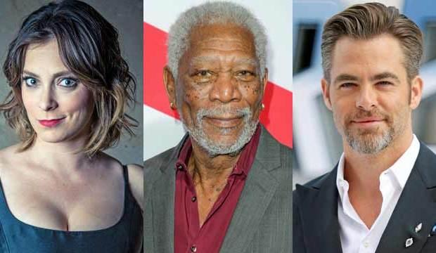 Rachel Bloom, Morgan Freeman, Chris Pine