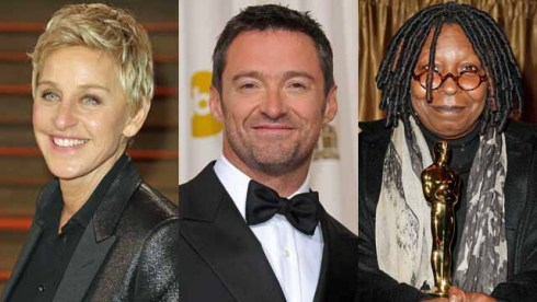 Ellen DeGeneres, Hugh Jackman, Whoopi Goldberg