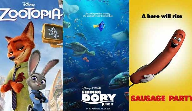 Zootopia, Finding Dory, Sausage Party