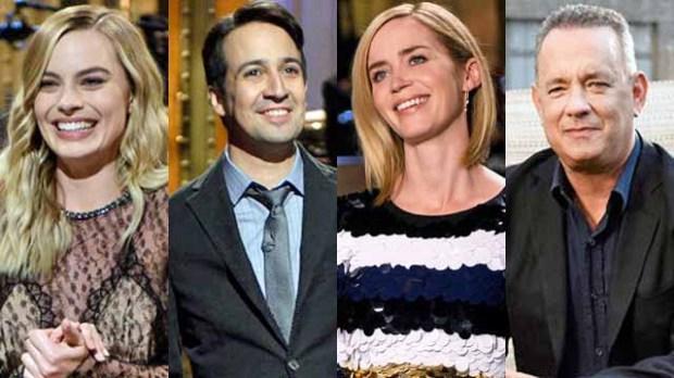 SNL hosts Margot Robbie, Lin-Manuel Miranda, Emily Blunt, Tom Hanks
