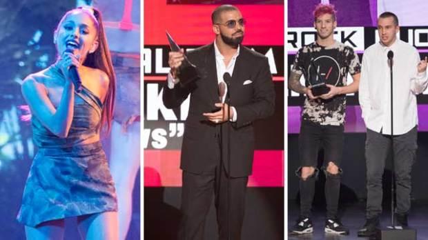 ariana grande drake twenty one pilots amas 2016 american music awards