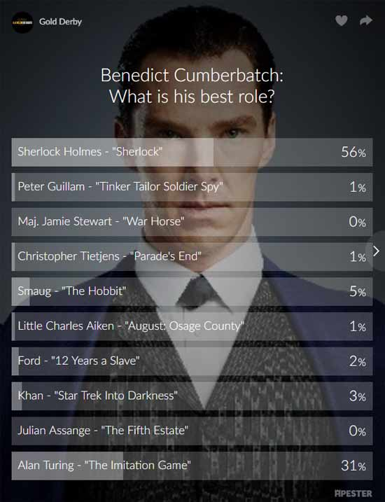 benedict cumberbatch poll results sherlock