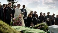 Ricky Whittle, Betty Gilpin & Darrin Baker at a Funeral in Starz's 'American Gods' Pilot