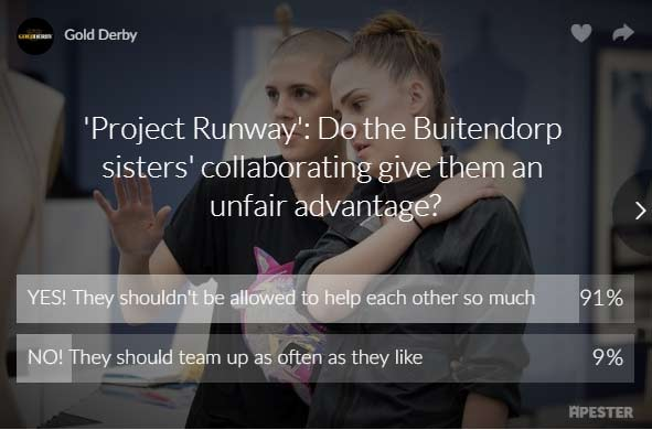 project runway buitendorp twins poll results