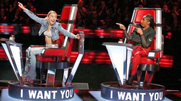 Miley Cyrus, Jennifer Hudson on The Voice