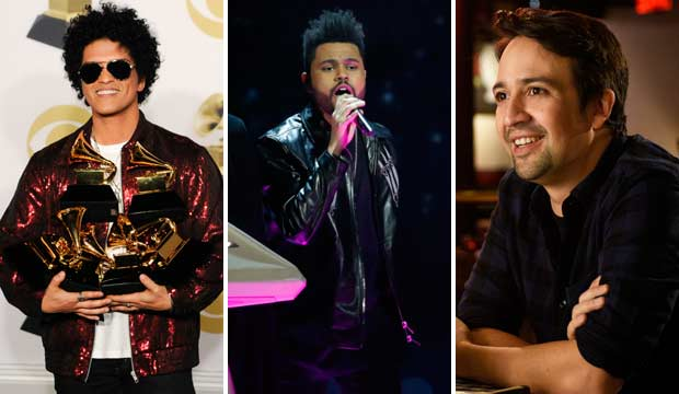 Bruno Mars The Weeknd Lin-Manuel Miranda Grammys 2018