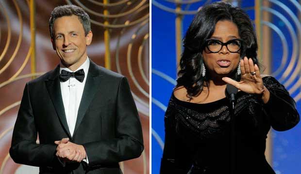 Seth Meyers and Oprah Winfrey Golden Globes 2018