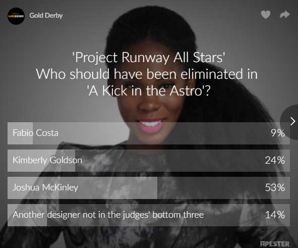 project runway poll results kimberly goldson joshua mckinley