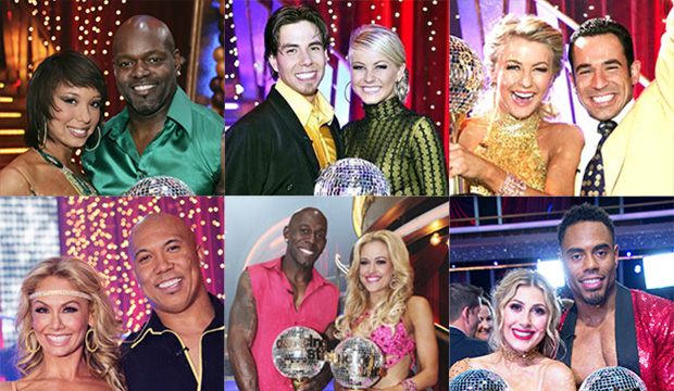 Cheryl Burke and Emmitt Smith, Apolo Anton Ohno and Julianne Hough, Hough and Helio Castroneves, Kym Johnson and Hines Ward, Donald Driver and Peta Murgatroyd, and Emma Slater and Rashad Jennings, Dancing with the Stars