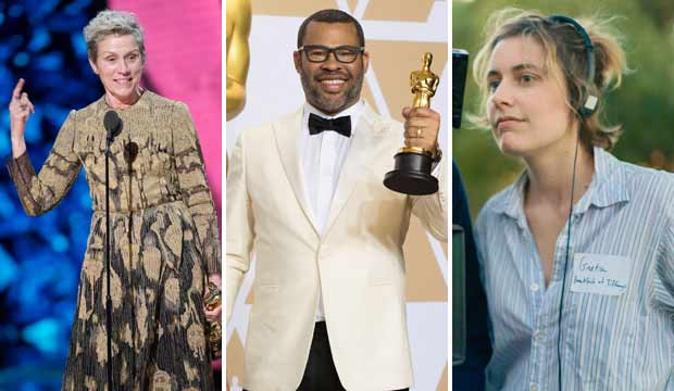 Frances McDormand Jordan Peele and Greta Gerwig Oscars 2018