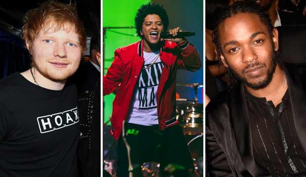 Ed Sheeran Bruno Mars and Kendrick Lamar