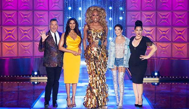 Ross Mathews, Padma Lakshmi, RuPaul, Halsey and Michelle Visage, RuPaul's Drag Race