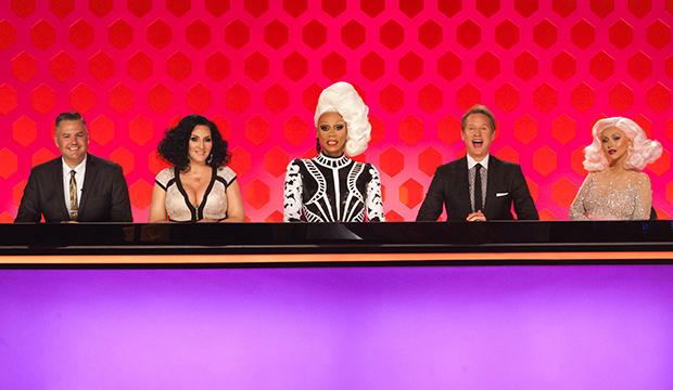 Ross Mathews, Michelle Visage, RuPaul, Carson Kressley and Christina Aguilera, RuPaul's Drag Race