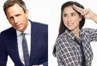 Seth Meyers and Sarah Silverman