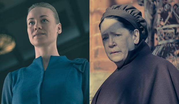 Yvonne Strahovski and Ann Dowd in The Handmaids Tale