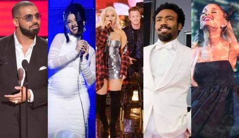 Drake, Cardi B, Bebe Rexha, Childish Gambino and Ariana Grande