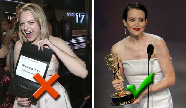 Elisabeth Moss and Claire Foy at the Emmys