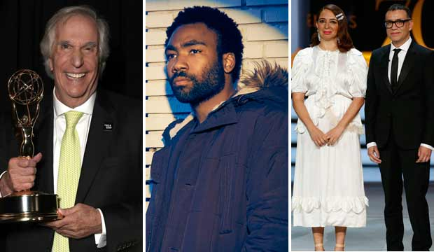 Henry Winkler, Donald Glover, Maya Rudolph and Fred Armisen at Emmys 2018