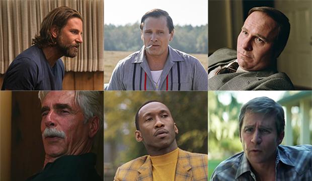 Bradley Cooper, A Star Is Born; Viggo Mortensen, Green Book; Christian Bale, Vice; Sam Elliott, A Star Is Born; Mahershala Ali, Green Book; Sam Rockwell, Vice
