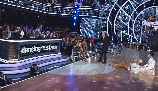 Carrie Ann Inaba, Len Goodman, Bruno Tonioli, Tom Bergeron, Sharna Burgess and Bobby Bones, Dancing with the Stars