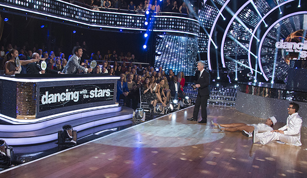 Carrie Ann Inaba, Len Goodman, Bruno Tonioli, Tom Bergeron, Sharna Burgess and Bobby Bones, Dancing with the Stars