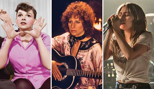Judy Garland, Barbra Streisand and Lady Gaga in A Star is Born