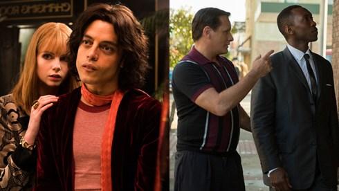 Lucy Boynton and Rami Malek, Bohemian Rhapsody; Viggo Mortensen and Mahershala Ali, Green Book