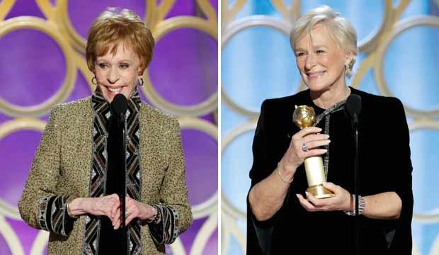 Carol Burnett and Glenn Close at Golden Globes 2019