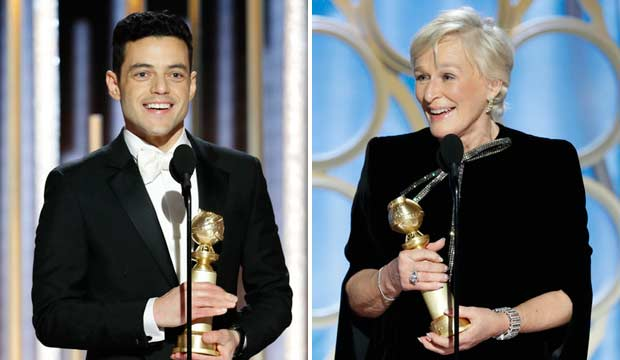 Rami Malek and Glenn Close at Golden Globes 2019