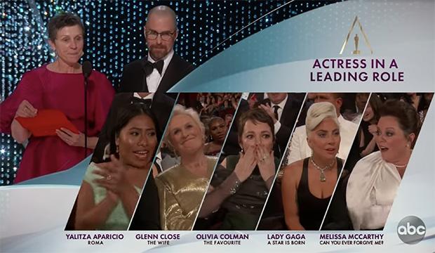 Frances McDorman, Sam Rockwell, Yalitza Aparicio, Glenn Close, Olivia Colman, Lady Gaga and Melissa McCarthy