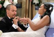 Mishael Morgan and Bryton James in The Young and the Restless