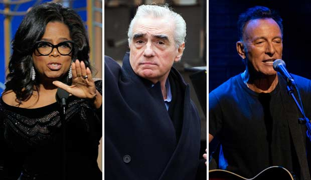 Oprah Winfrey, Martin Scorsese and Bruce Springsteen
