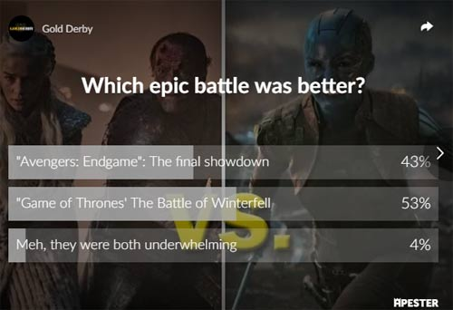 avengers game of thrones poll results