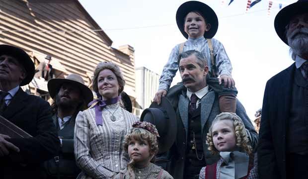 Anna Gunn and Timothy Olyphant in Deadwood The Movie