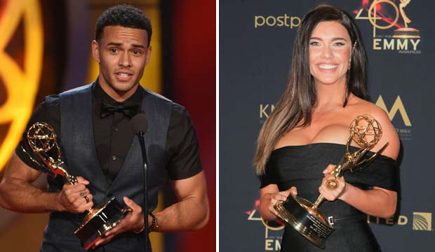 Kyler Pettis and Jacqueline MacInnes Wood at Daytime Emmys 2019