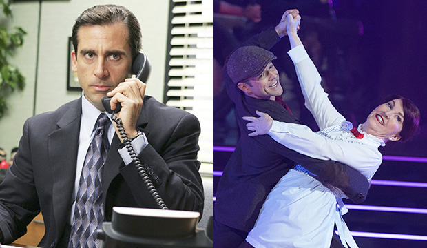 World's best boss: Steve Carell tells Kate Flannery she's going to 'take the whole thing' on 'Dancing with the Stars'
