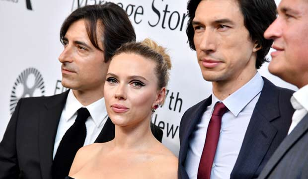 Noah Baumback, Scarlett Johansson and Adam Driver at Marriage Story at New York Film Festival