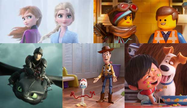 Frozen II, Lego Movie 2, How to Train Your Dragon The Hidden World, Toy Story 4 and Secret Life of Pets 2