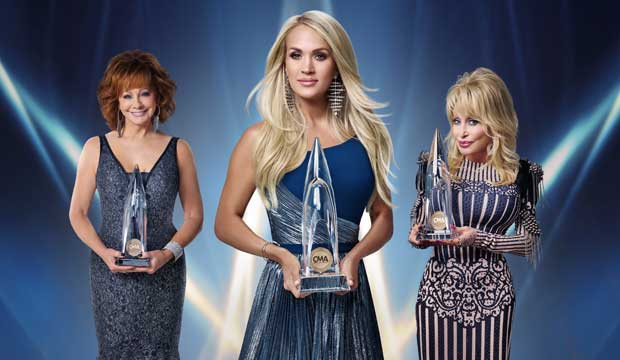 Carrie Underwood, Reba McEntire, and Dolly Parton host the CMA Awards