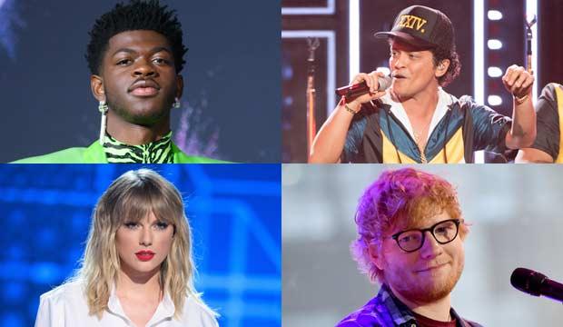 Lil Nas X, Bruno Mars, Taylor Swift and Ed Sheeran