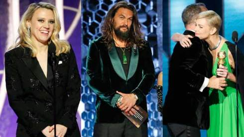 Kate McKinnon, Jason Momoa, Charlize Theron at the Golden Globes 2020