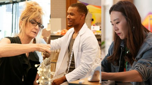 Nancy, Delvin and Dayoung on Project Runway