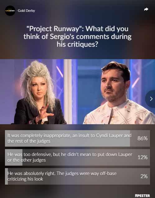 Project Runway poll results sergio guadarrama cyndi lauper