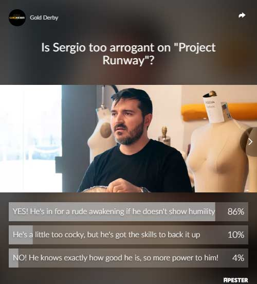 Project Runway poll results Sergio Guadarrama arrogant