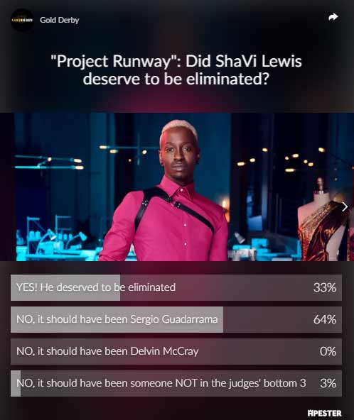 shavi lewis project runway elimination poll results