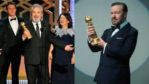 Sam Mendes and Ricky Gervais at Golden Globes 2020