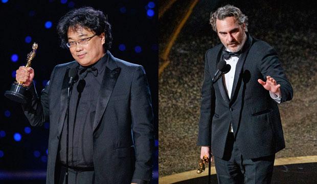 Bong Joon Ho and Joaquin Phoenix at Oscars 2020