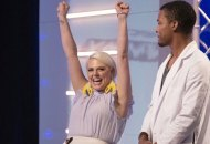 """PROJECT RUNWAY -- """"Project Runway x Ashley Longshore"""" Episode 1807 -- Pictured: (l-r) Brittany Allen, Delvin McCray -- (Photo by: Barbara Nitke/Bravo)"""