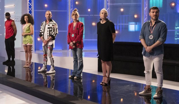 "PROJECT RUNWAY -- ""Olympic Game Plan"" Episode 1811 -- Pictured: (l-r) Marquise Foster, Victoria Cocieru, Geoffrey Mac, Nancy Volpe-Beringer, Brittany Allen, Sergio Guadarrama -- (Photo by: Barbara Nitke/Bravo)"